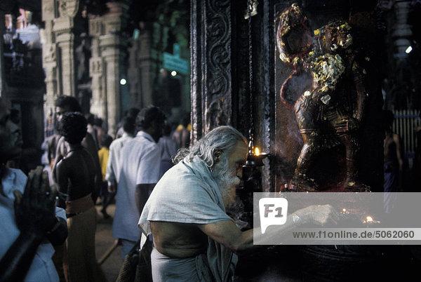 People in Meenakshi Temple India  Tamil Nadu  Madurai.