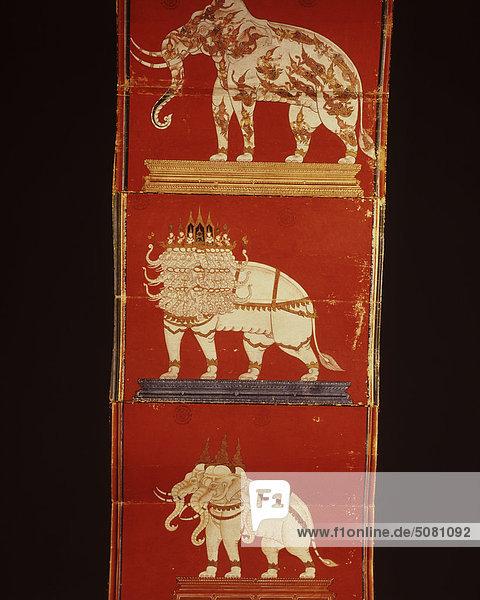 Seiten des Manuskripts auf Elefanten  Nationalbibliothek  Thailand. Seiten des Manuskripts auf Elefanten, Nationalbibliothek, Thailand.