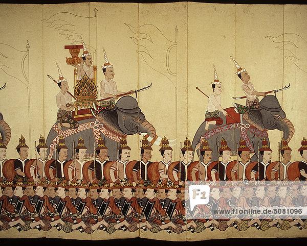 Detail eines Manuskripts zeigt eine königliche Prozession  Thailand. Detail eines Manuskripts zeigt eine königliche Prozession, Thailand.