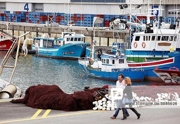 Fishing boats at port  Santoña  Cantabria Spain