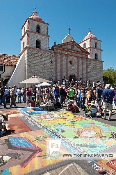 I Madonnari Itallian street painting festival at Santa Barbara Mission  California  2011