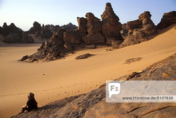 Libyen  Dschebel Akakus. Geformte Felsen