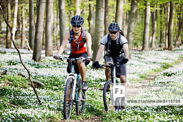 Paar Mountainbiken zusammen
