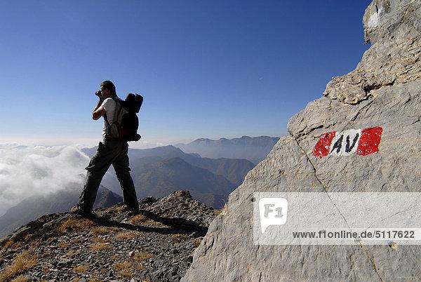 Bergwanderer Italien Ligurien