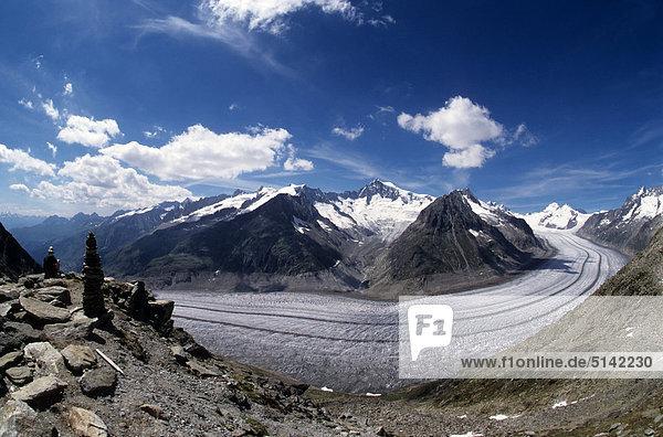 Schweiz  Aletsch  den Gletscher