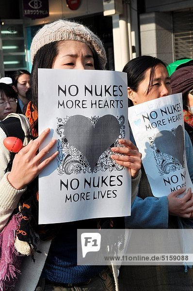 Kyoto (Japan): people protesting against the nuclear plants  after the Fukushima disaster  in the city center