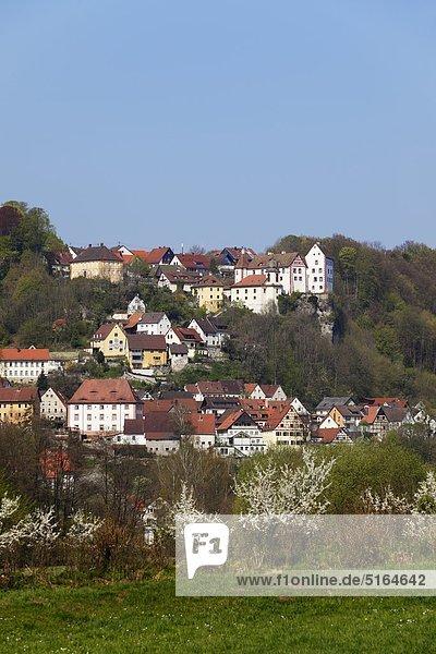 Deutschland,  Bayern,  Franken,  Oberfranken,  Fränkische Schweiz,  Egloffstein,  Blick auf Häuser am Berg