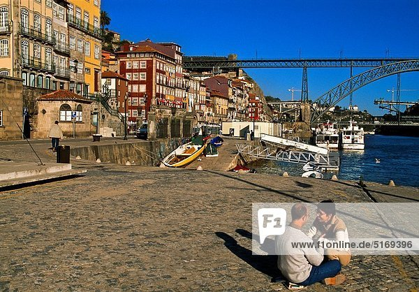 La Ribeira and bridge Luis I Bridge. Porto. Portugal.