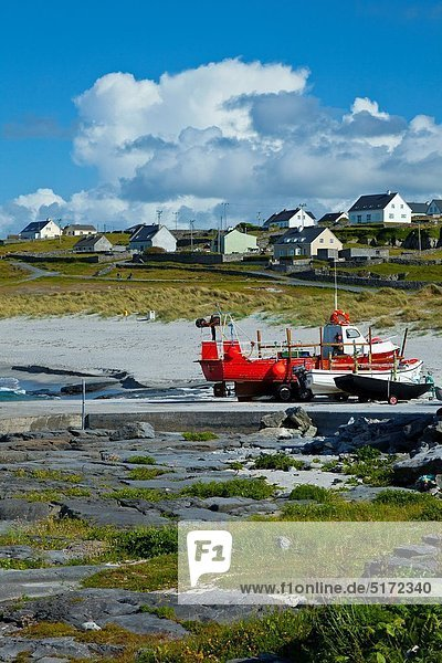 Beach and Baile An Chaisleain Village Inisheer Island - Inis Oirr Aran Islands  Galway County  West Ireland  Europe