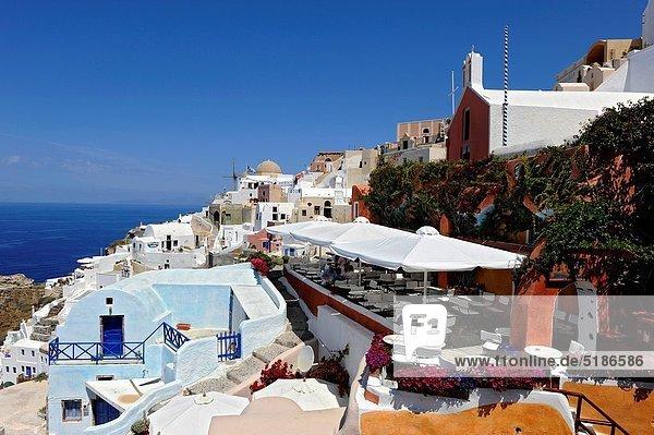 Restaurant  Insel  Kreuzfahrtschiff  Santorin  Griechenland  Oia  Ia