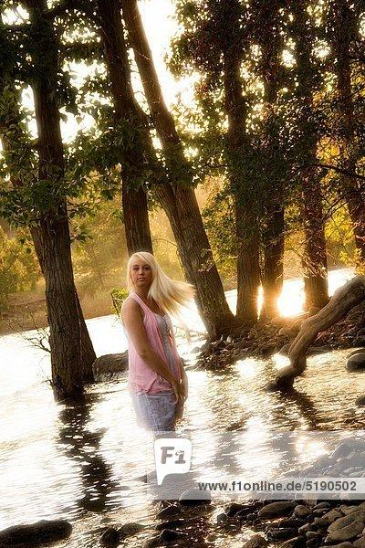Young blonde woman outdoors in Spokane  Washington  USA.