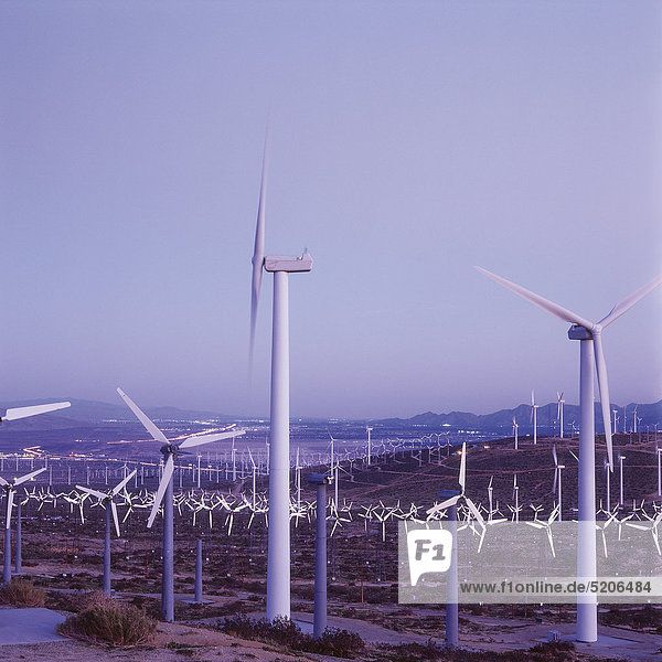 Großer Windpark  abends  Kalifornien  USA