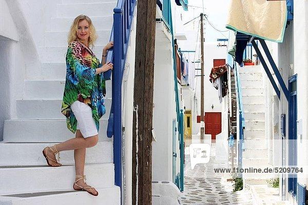 30 year old woman  Mykonos  Cyclades islands  Greece