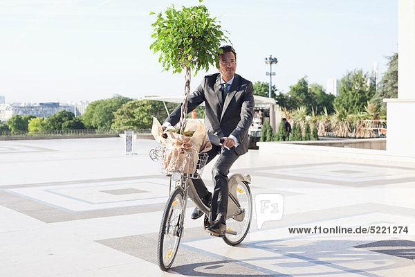 Businessman carrying a plant on a bicycle  Eiffel Tower  Paris  Ile-de-France  France