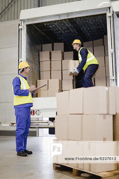 arbeiten, Lastkraftwagen, abladen