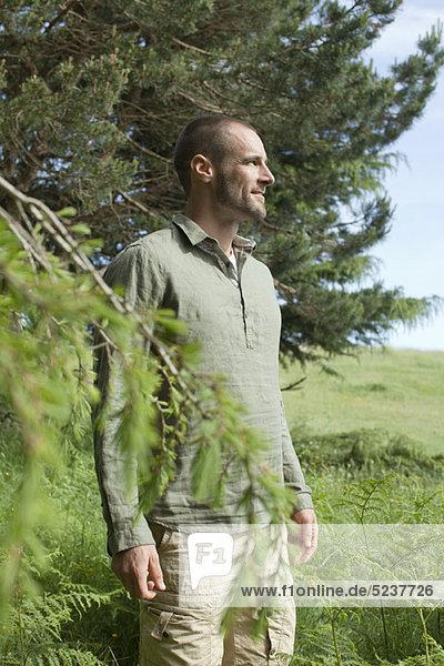 Mann neben Baum  Aussicht betrachten