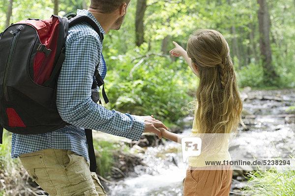 Vater und Tochter Wandern in Wäldern zusammen