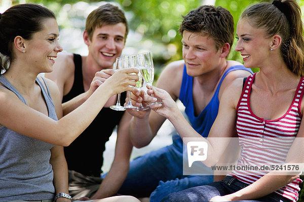 Italien  Toskana  Freunde  die beim Picknick klirren