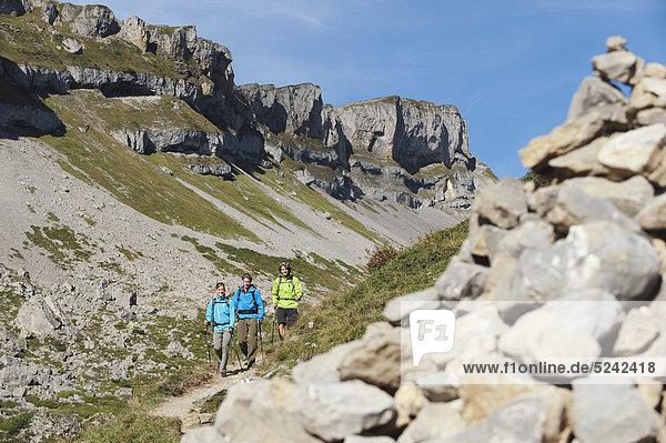Österreich  Kleinwalsertal  Bergwandergruppe mit Steinhaufen im Vordergrund
