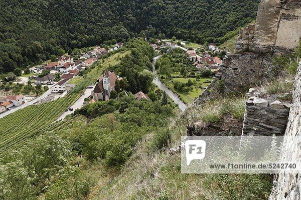 Österreich  Niederösterreich  Wachau  Kremstal  Senftenberg  Dorfansicht von der Burgruine Senftenberg aus