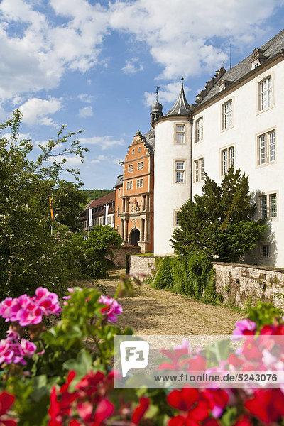 Deutschland  Baden-Württemberg  Bad Mergentheim  Ansicht Deutschordensschloss mit Blumen im Vordergrund