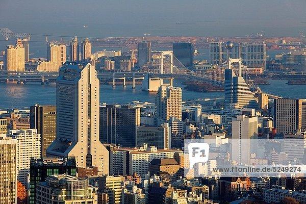 Skyline  Skylines  Tokyo  Hauptstadt  Brücke  Hintergrund  Asien  Japan  Odaiba  Regenbogen