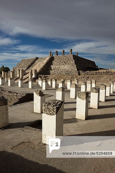 Columns in front of the Tlahuizcalpantecuhtli Pyramid or Temple of the Morning Star in the Toltec capital of Tula  Mexico