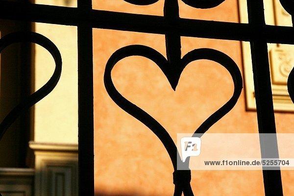 Zaun Form Formen Eingang herzförmig Herz Metall Stahl