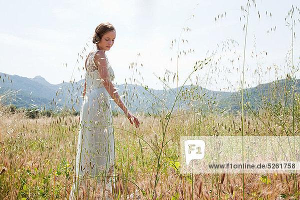 Braut brautkleid allein im Feld tragen
