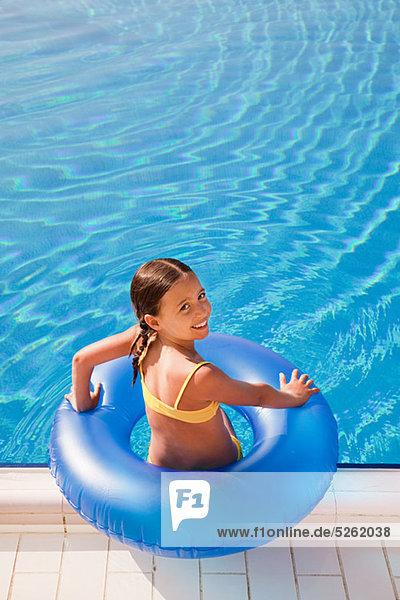 aufblasen, Schwimmbad, Mädchen, klingeln