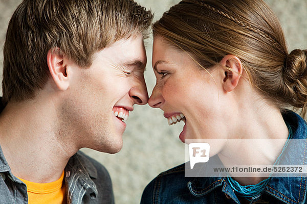 Young couple laughing together