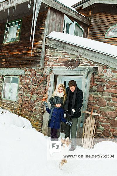 Außenaufnahme Wohnhaus Ländliches Motiv ländliche Motive Schnee