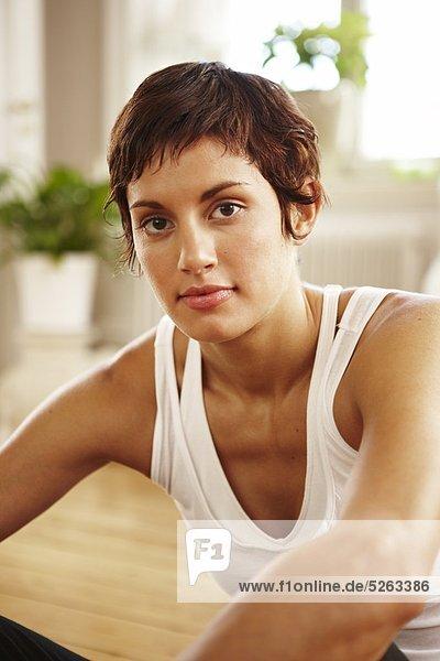 Portrait of woman wearing tank top