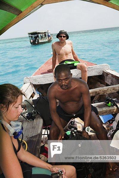 Vorbereitung Tourist Boot Tauchgang