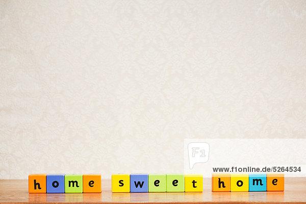 Alphabet Blöcke Rechtschreibung home sweet home