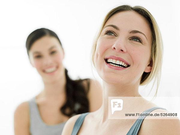 Portrait of young women in bathroom