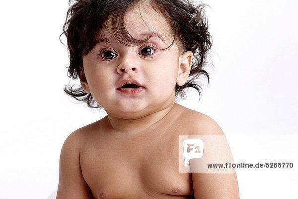 Fröhlichkeit Freier Oberkörper nackt Mädchen Baby