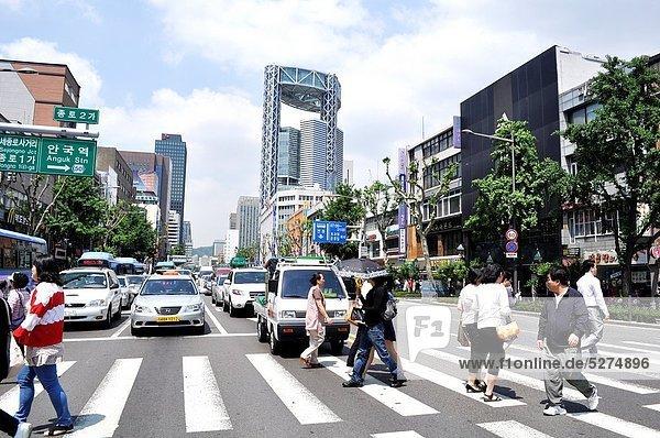 Seoul  Hauptstadt  überqueren  Hintergrund  Fußgänger