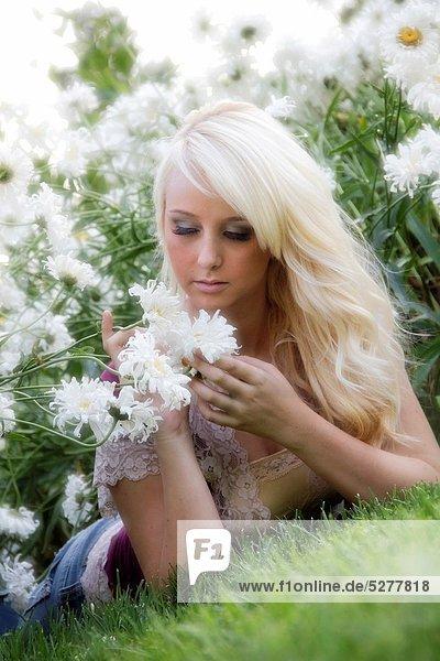 A beautiful young caucasian woman outdoors in Spokane  Washington  USA