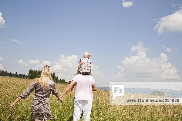 Rückansicht der jungen Familie gehen durch Wiese