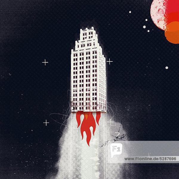 Rakete in Form eines Wolkenkratzers hebt ab Rakete in Form eines Wolkenkratzers hebt ab