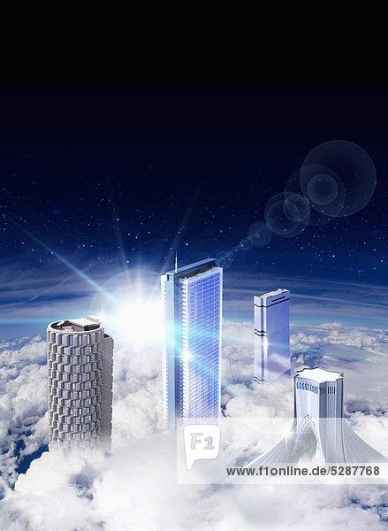 Moderne Wolkenkratzer erheben sich über die Wolken