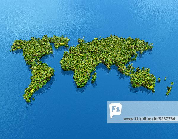 Weltkarte bedeckt von Vegetation