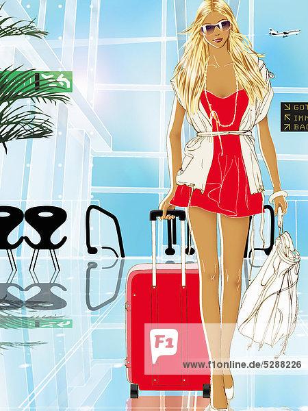 Frau mit Gepäck am Flughafen Frau mit Gepäck am Flughafen