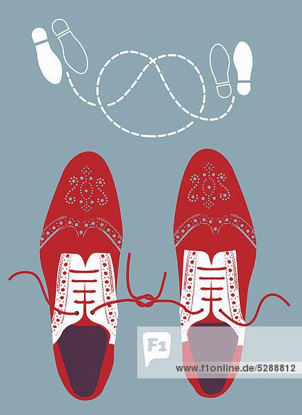 Verknotete Schuhe und Tanzschritte Verknotete Schuhe und Tanzschritte
