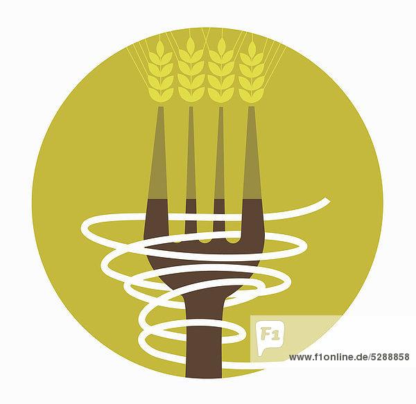 Getreide und Nudeln auf einer Gabel