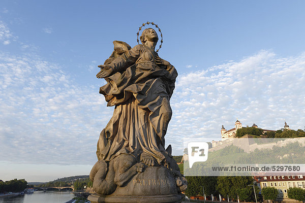 Holy Virgin Mary  Our Lady of Franconia  Old Main Bridge  Wuerzburg  Lower Franconia  Franconia  Bavaria  Germany  Europe  PublicGround