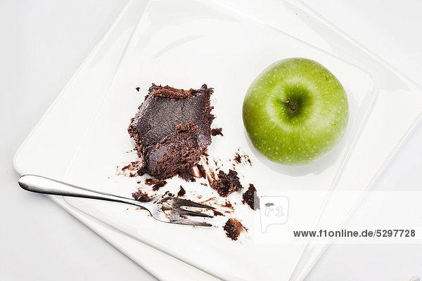 Brownie mit Apfel  Gabel
