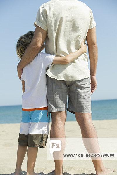 Vater und Sohn stehen zusammen am Strand  Rückansicht