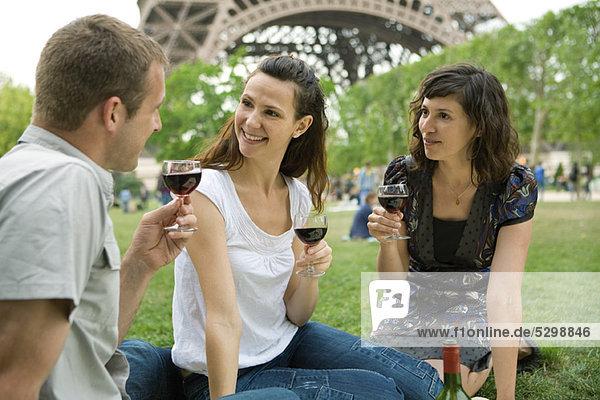 Friends enjoying wine at picnic near Eiffel Tower  Paris  France